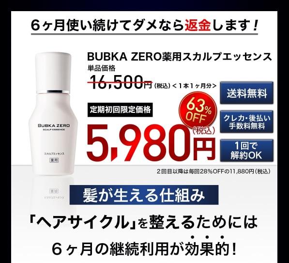レビュー目的で実際に育毛剤を買うなら「コラーゲン配合育毛剤BUBKA ZERO」がおすすめ!